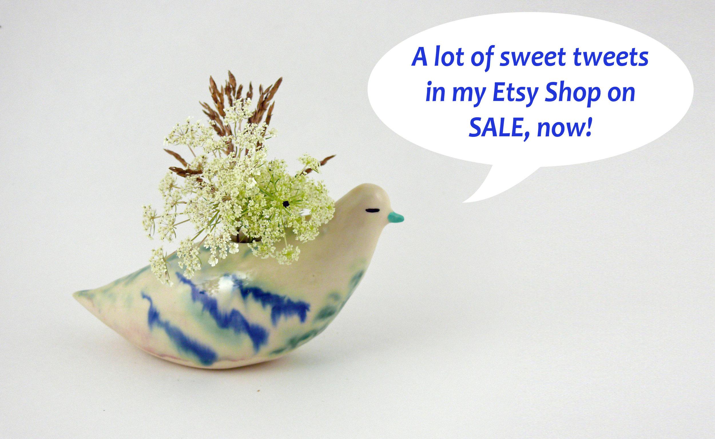 "Porcelain bird vase, 5"" high, now in my  etsy shop"