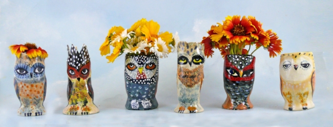 The whole gang. Acutally, I amade about 20 of these vases. They are made with porcelain so they are very water proof!