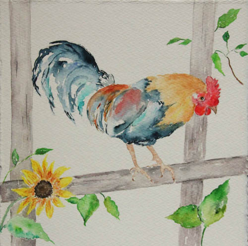 Maria Tadd, Summer Rooster, watercolor