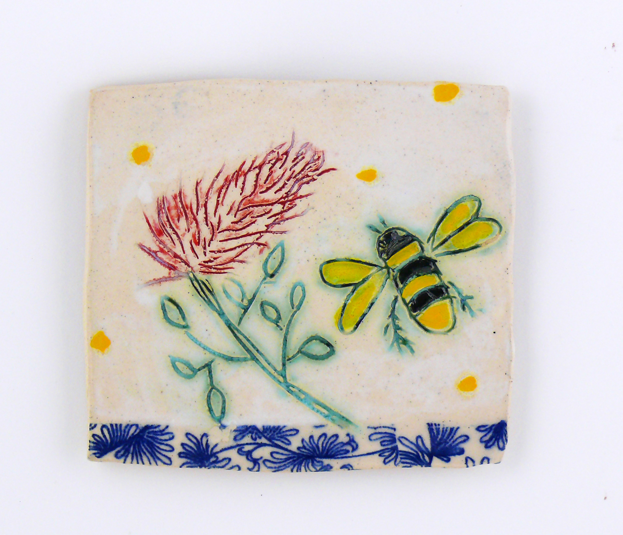 Bee and Flower, porcelain wall tile. Cathy Kiffney 5x5""
