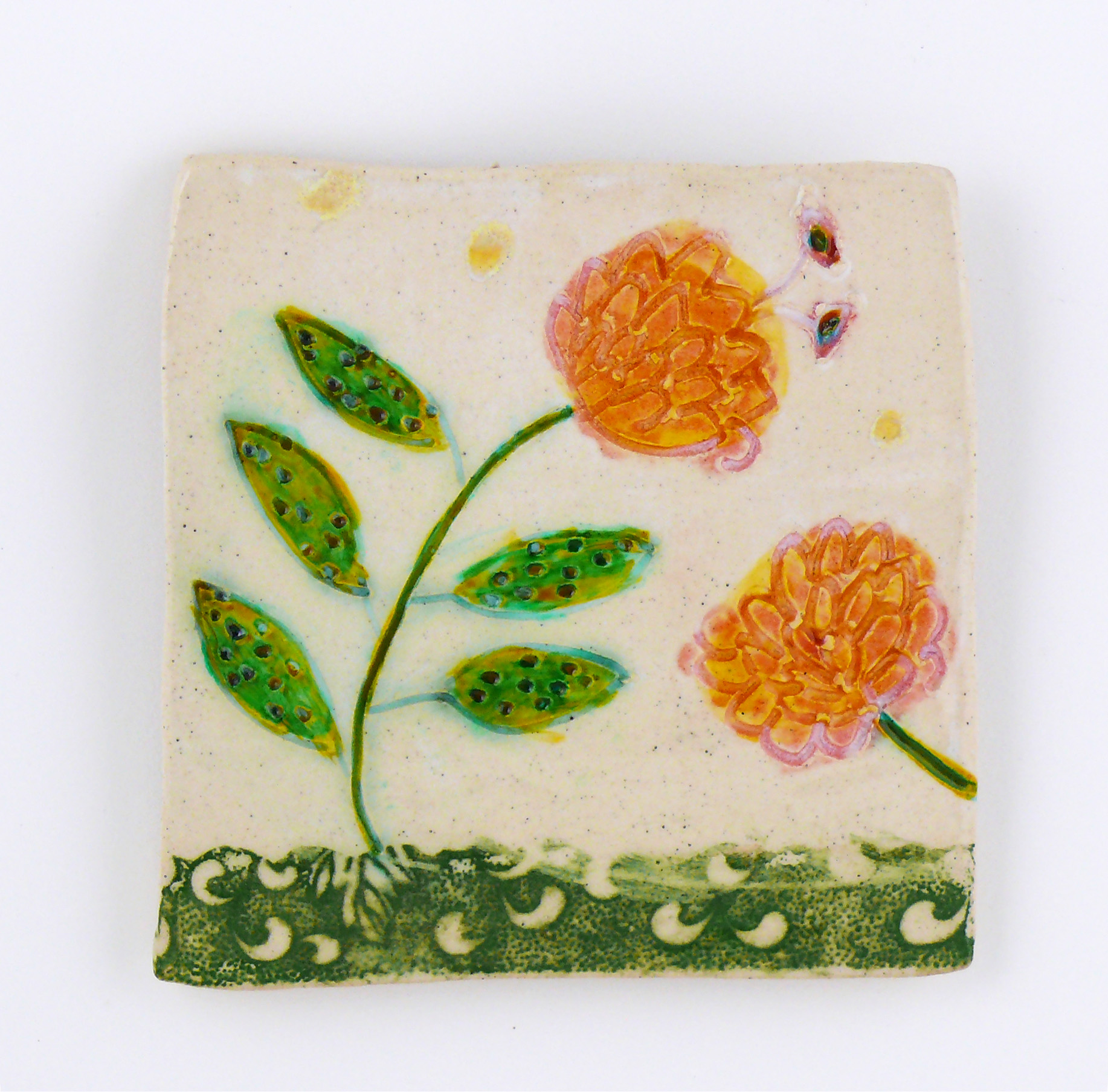 Flowers. porcelain wall tile. Cathy Kiffney. 5x5""