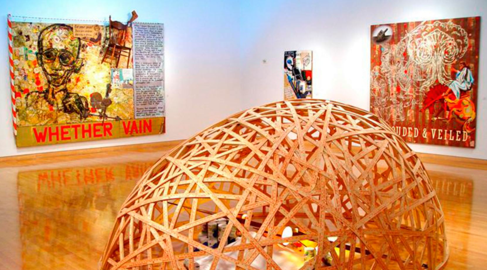 Jerry E. Smith, Covered & Smothered: 3000 feet wood lathe, 300 Home Depot yardsticks, 50 lbs. salt and vintage pole lamp, 11X12X5 ft., 2012