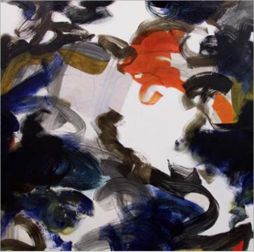 """Tina Fuentes, """"Marcando el relámpago II"""", acrylic/oil painting, 48""""x48"""", 2015"""
