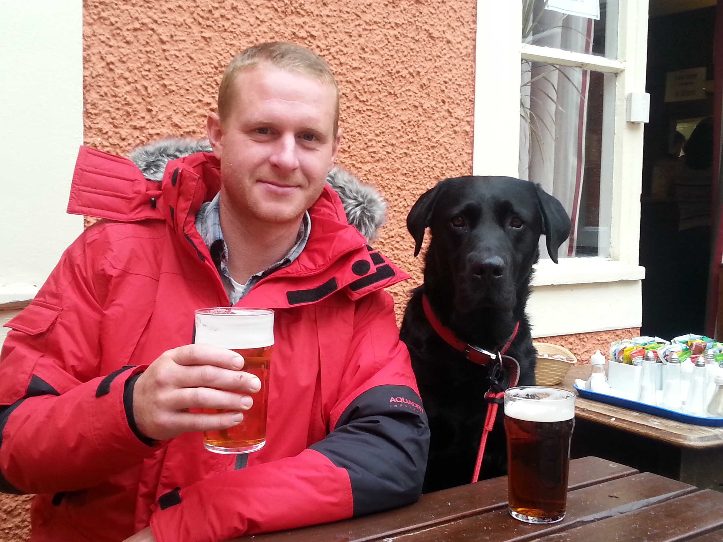 Enjoying some R&R in the Lake District. The boss is enjoying a well-earned beer, Dean is sat next to him!