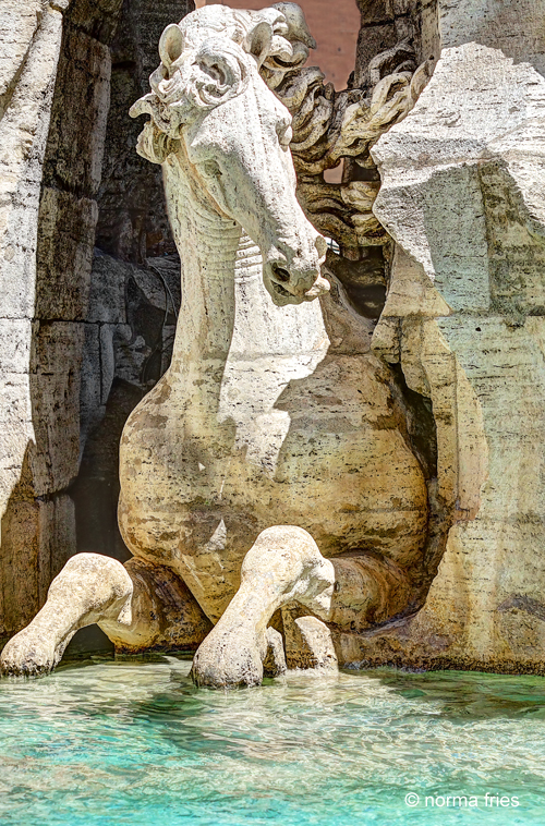 """IT264: """"Rome: 4 Rivers Fountain detail, Piazza Navonna"""""""