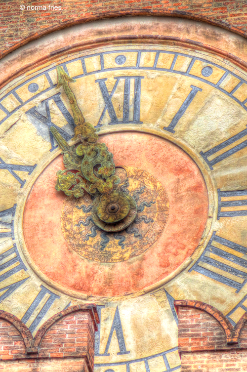 """IT270: """"Bologna: Clock in Palazzo d' Accursio"""""""