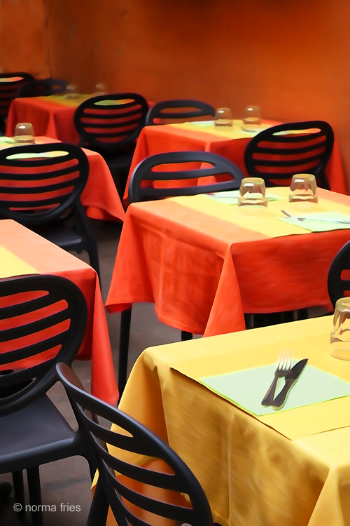 """IT277: """"Italy: Red and yellow tables"""""""