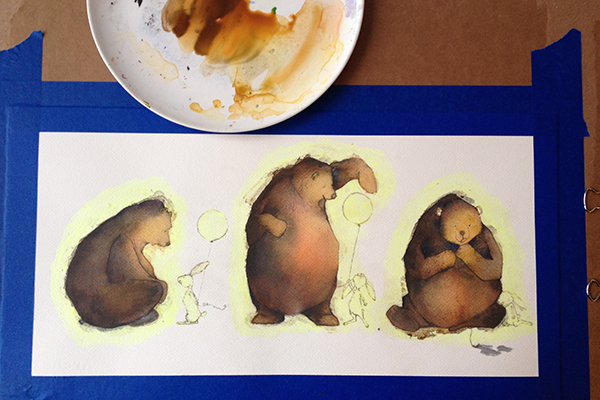 Masking fluid and watercolor wash