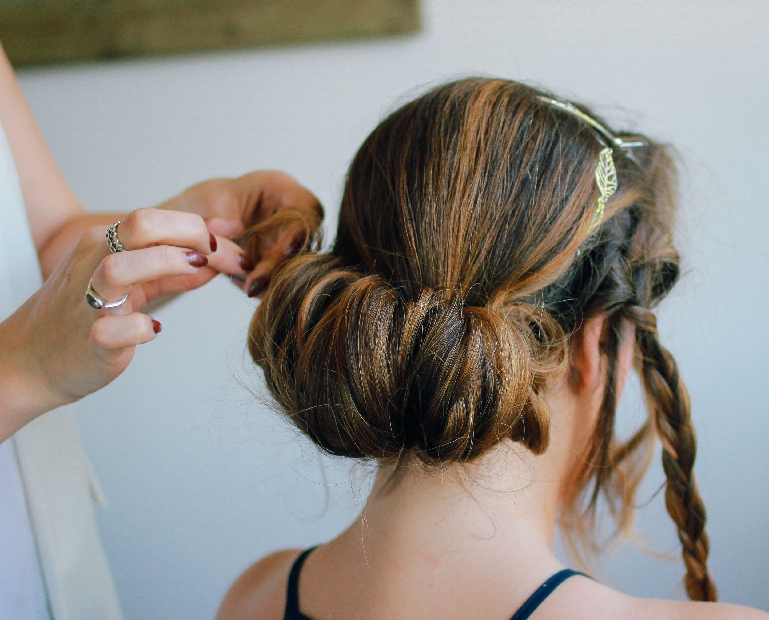 Use headband as an anchor to help the bobby pins secure.