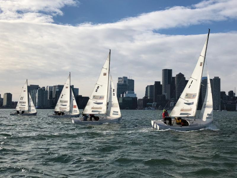Courageous Sailing Center's Rhodes 19 Frostbiting Fleet is Under Sail in Boston Harbor