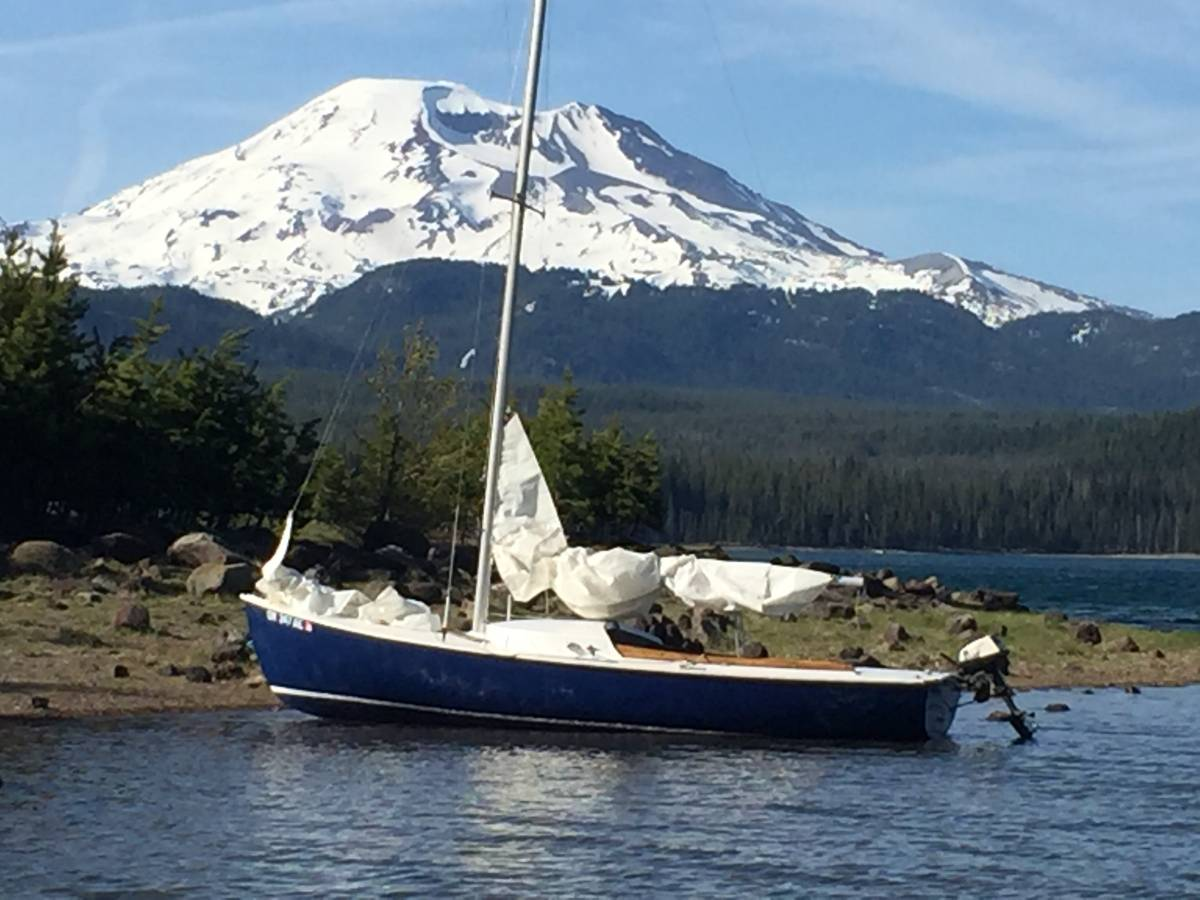 Rhodes 19 beached at 4900 feet on Elk Lake, Oregon, while looking across to Mt. Batchelor