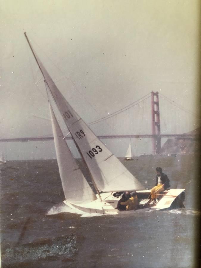 Dramatic photo of Bill R's Rhodes 19 #1093 sailing inside the Golden Gate Bridge on San Francisco Bay, California