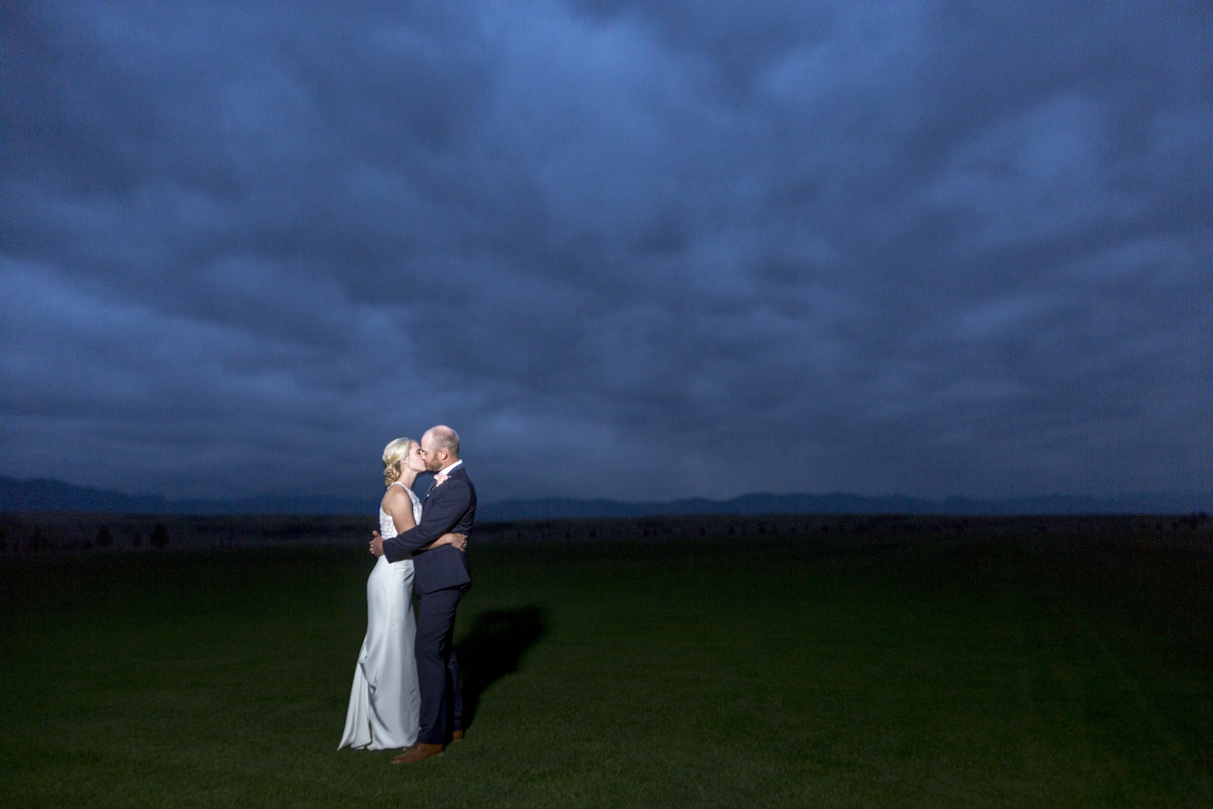 Stormy Sky Sheridan Wyoming Wedding Portrait