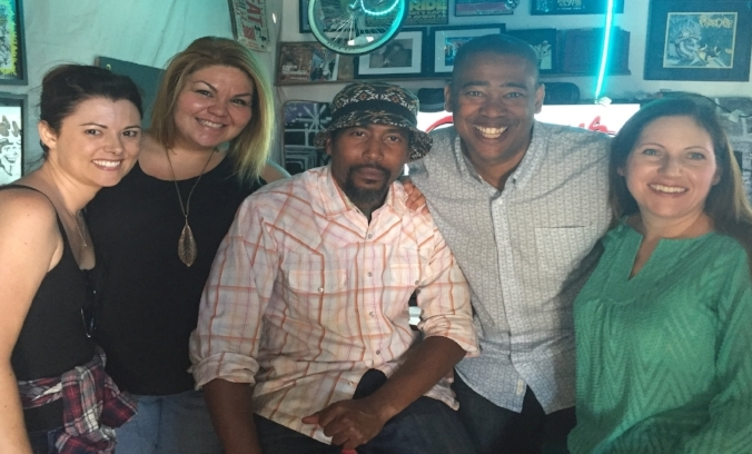 (L-R) Host/Producer Megahn Perry, Guest Dina Cervantes, Guest James Mathis, Host/Producer Vidal Marsh, Producer Katherine Brown.