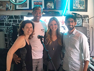 """Recording """"The Human Kind Podcast"""" with Allegory founder Megahn Perry, producer Vidal Marsh and guest Ishraq Ali."""