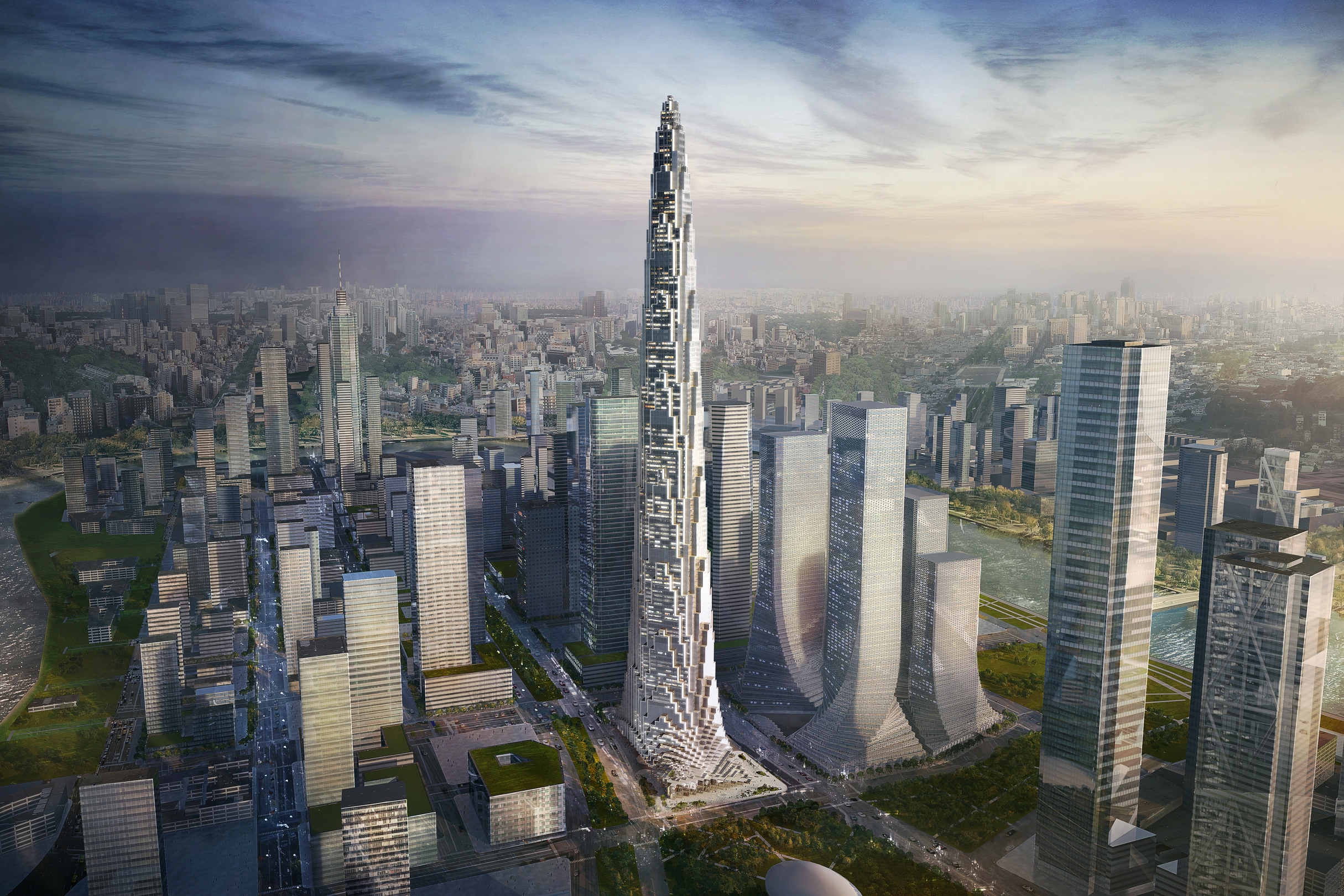 image courtesy of BIG    ROSE ROCK TOWER   (work done while employee at BIG)   Project Designer:  Brian Rousseau Rome  Program:  Commercial | Hotel | Residential | Retail  Size:  3,875,000 sf | 360,000 m2  Client:  Tianjin Jinxiao Real Estate Development Co. Ltd.  Location:  Tianjin, China  Status:  Schematic Design