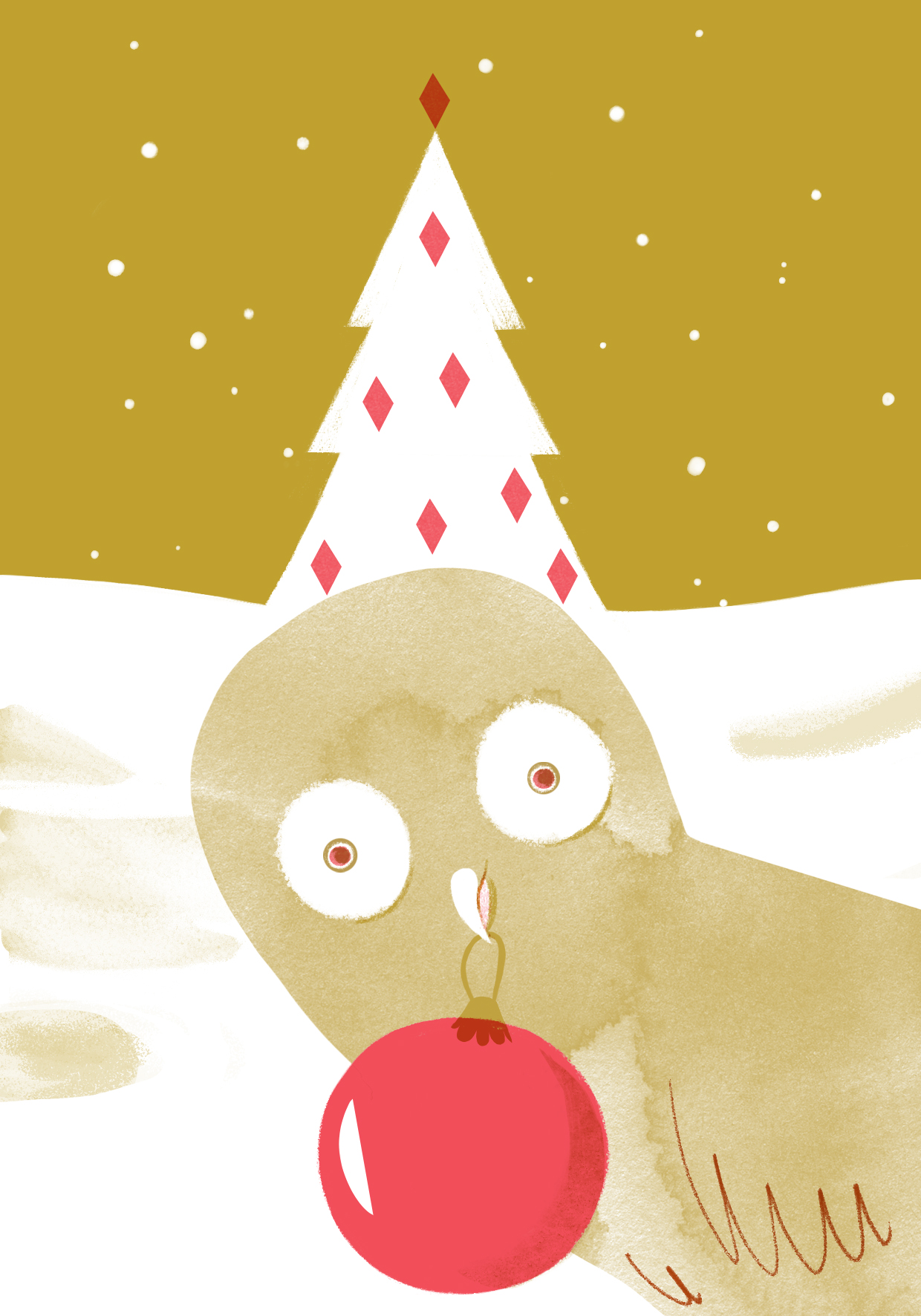 Riso Print of Christmas owl