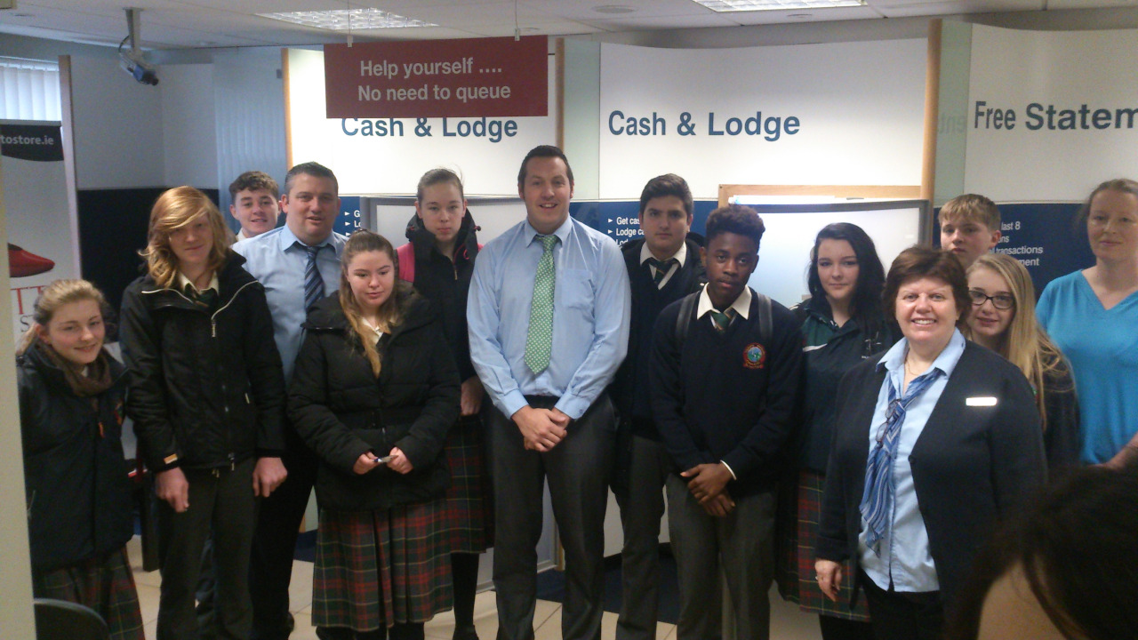 5LCA visited Bank of Ireland Leixlip yesterday as part of their Office Admin. module. The staff at the bank gave a most enlightening talk about their jobs, day-to-day life in the branch and the variety of careers in that sector. They spoke about the huge surge in online and digital banking and the move towards a cash-less society. The students even got to see inside the safe-unfortunately no free samples were on offer!
