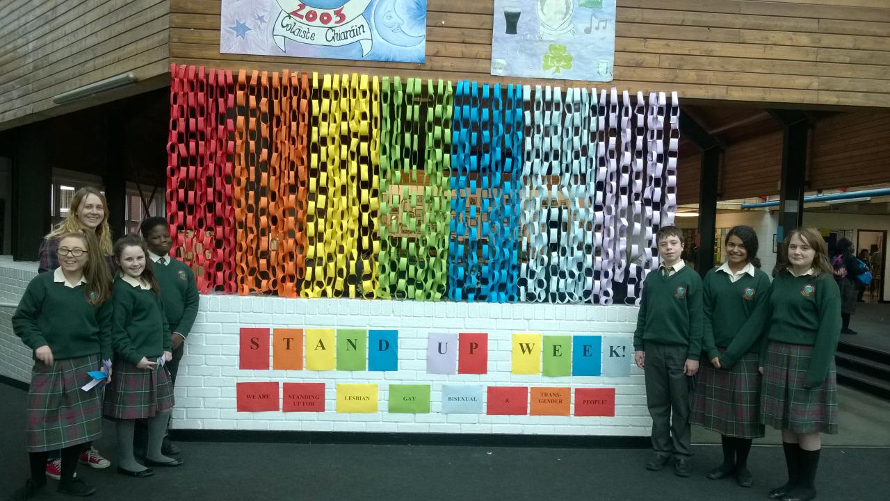 Colaiste Chiarain - Stand Up Week. Well done to the team who put together our colourful   display. We support LGBT members of our community.