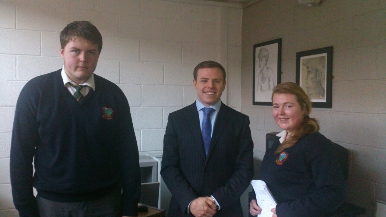 Planning for the Future    Robert Walsh from Sigmar Recruitment who held a CV/job interview clinic for LCA & LCVP students in the school today.