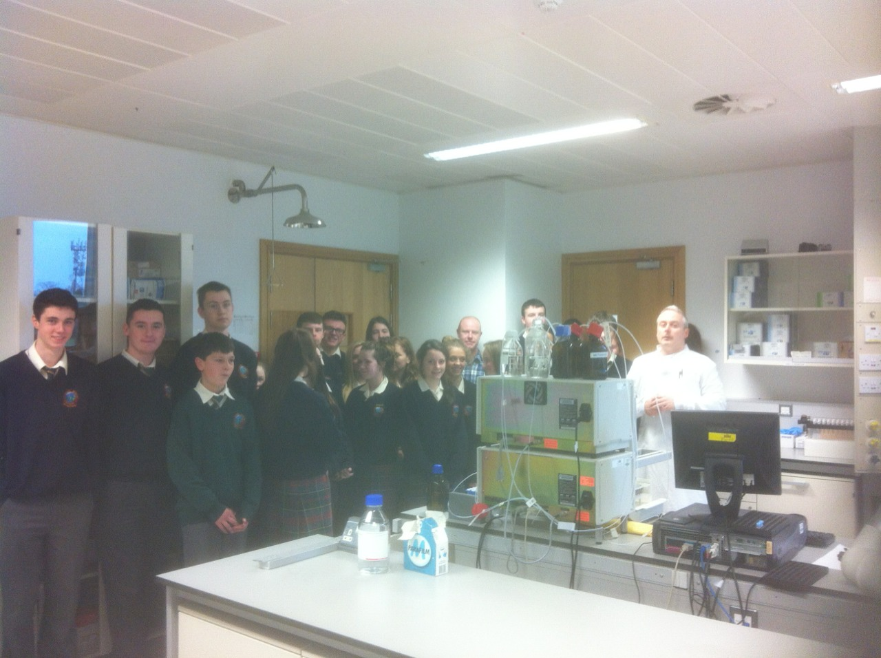 The TY class and Scifest students visited the State Laboratory today. Dr Jonathan Carroll showed us around and explained the workings of the laboratory to us. It is rare to get a visit to the state labs so we felt privileged to have been given this unique opportunity.