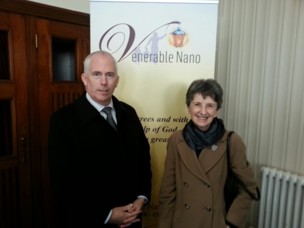 Venerable Nano Nagle.  Sr. Ursula Lawler, Chairperson Board of Management and Principal Joe Sweeney attending mass to celebrate the declaration by Pope Francis that Nano Nagle be Venerable. Nano is the founder of the Presentation Sisters, trustees of Colaiste Chiarain.