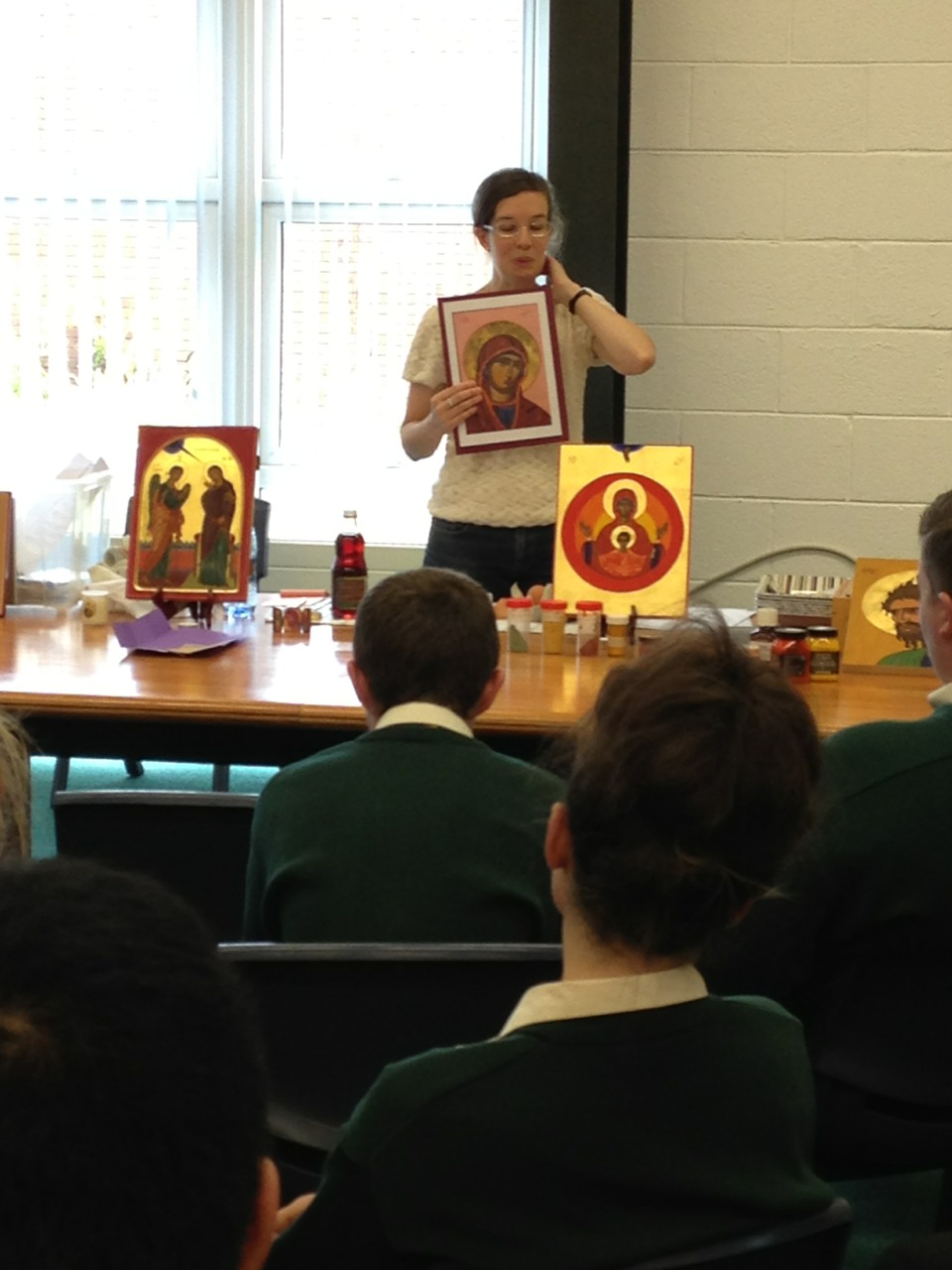 Third year students attended a talk on religious icons in preparation for their junior cert project.