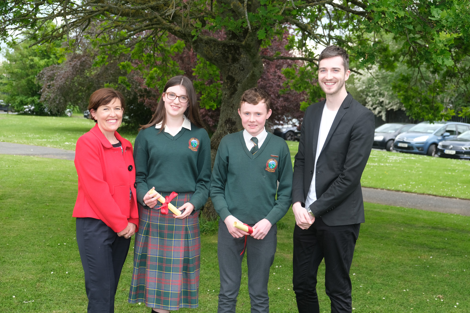 2nd Male and Female Student of the Year.  Louise Doran, Anna Evans, Niall Hession, Evan Kirwan.