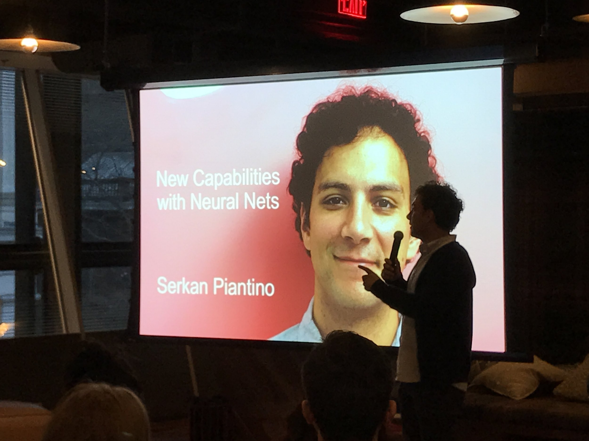 "Tech:NYC board member Serkan Piantino gives a talk on AI entitled ""New Capabilities with Neural Nets""."