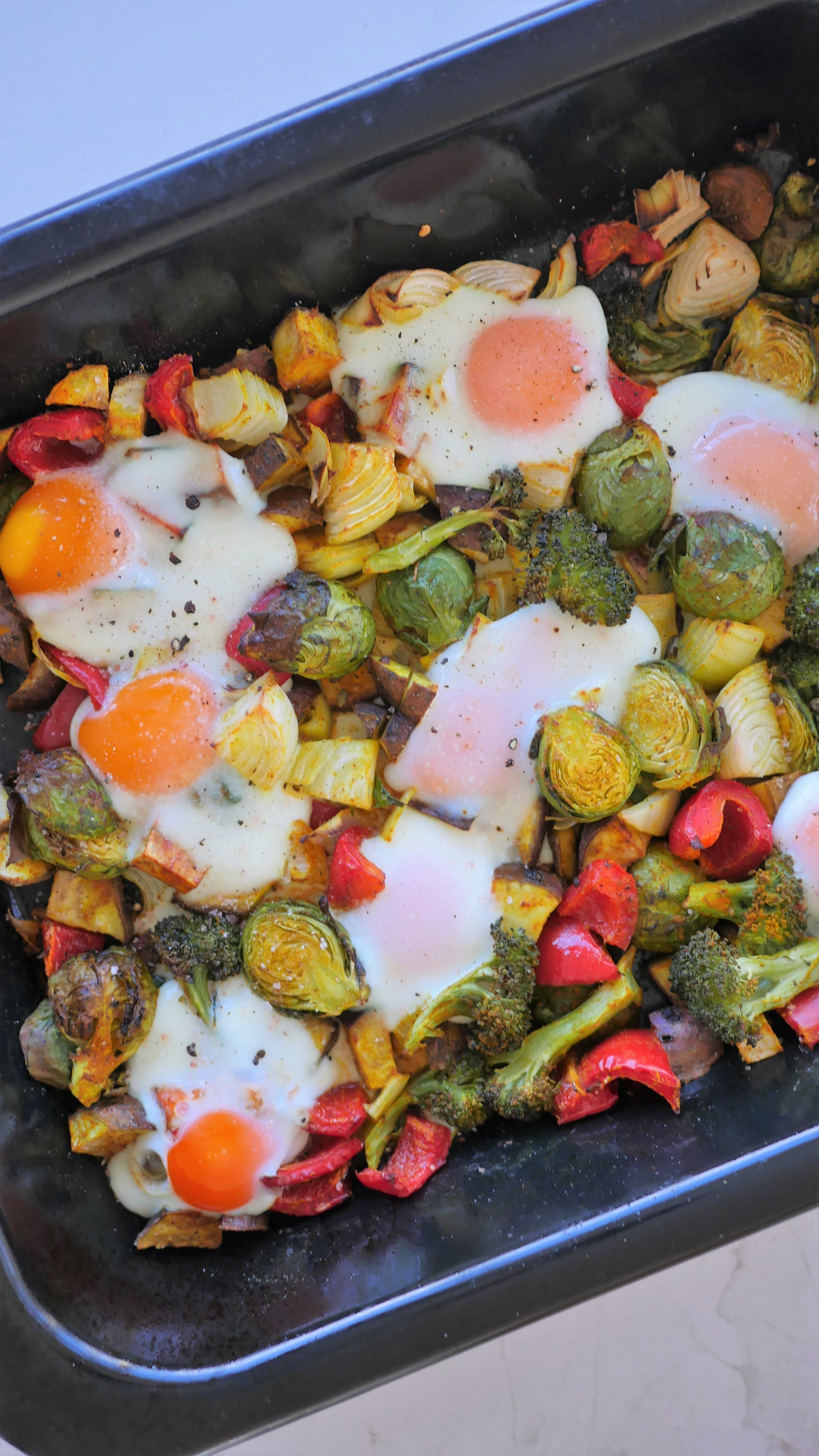 Baked eggs and veggies - one pan meal