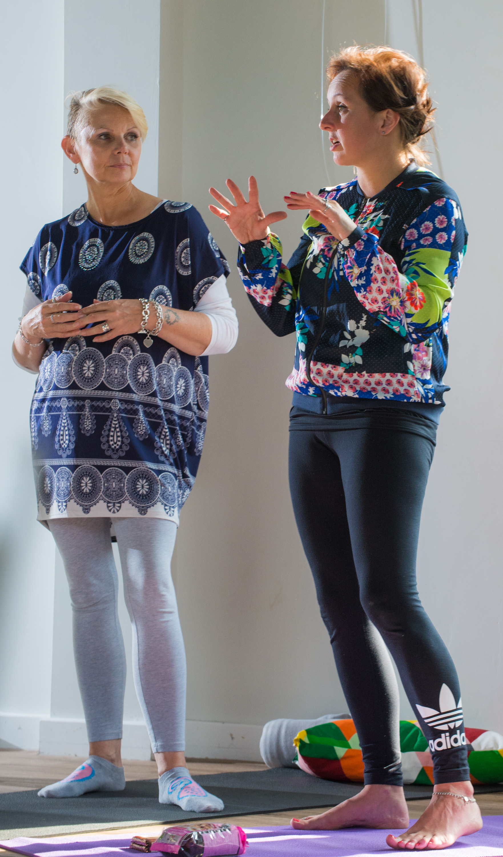Parenting expert Jane Evans (L) and Founder of YOGADOO (R) Lucy Aston lead the sessions