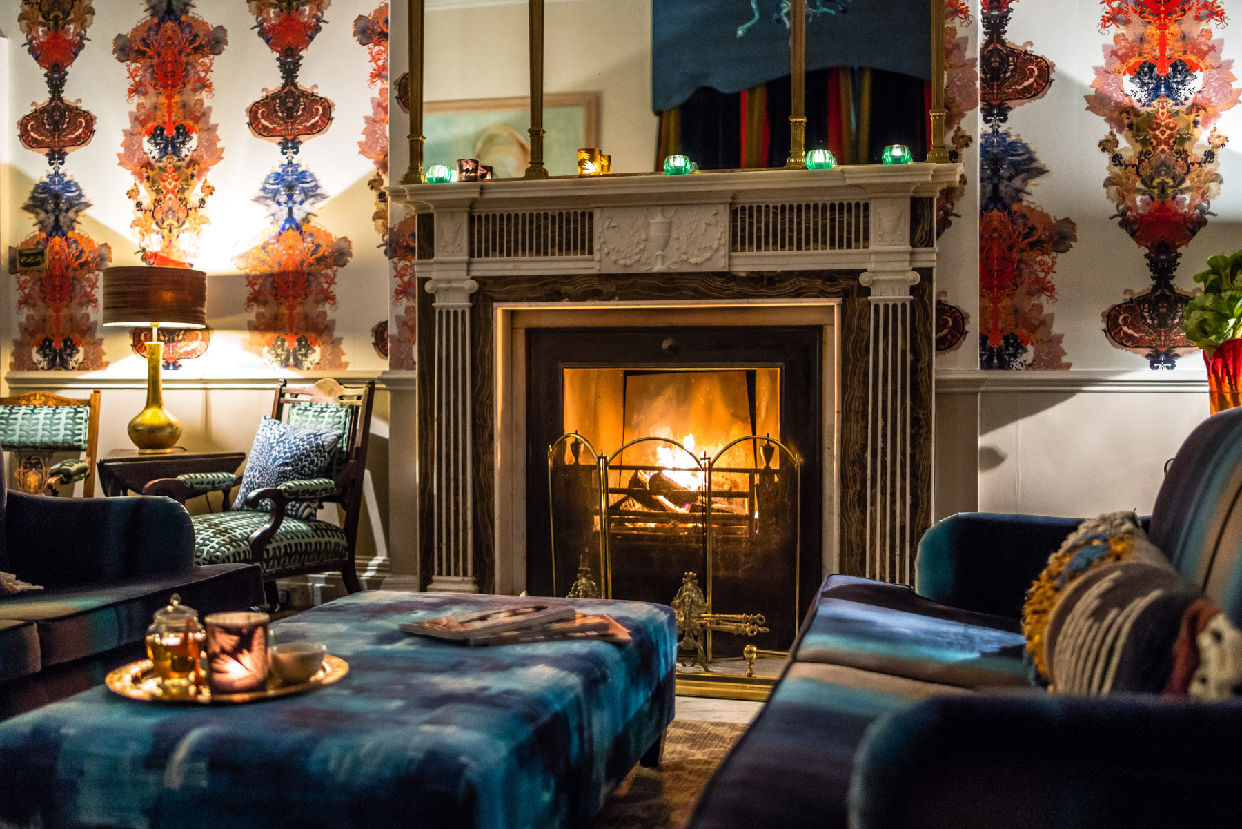 The Drawing Room at Combe Grove Hotel, location for Hygge Yoga ™   Log Fire meditation