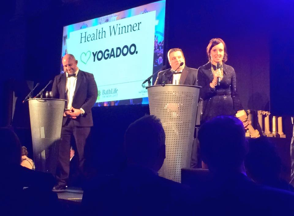 YOGADOO founder, Lucy Aston makes a speech after YOGADOO wins best Health business at the Bath Life Awards