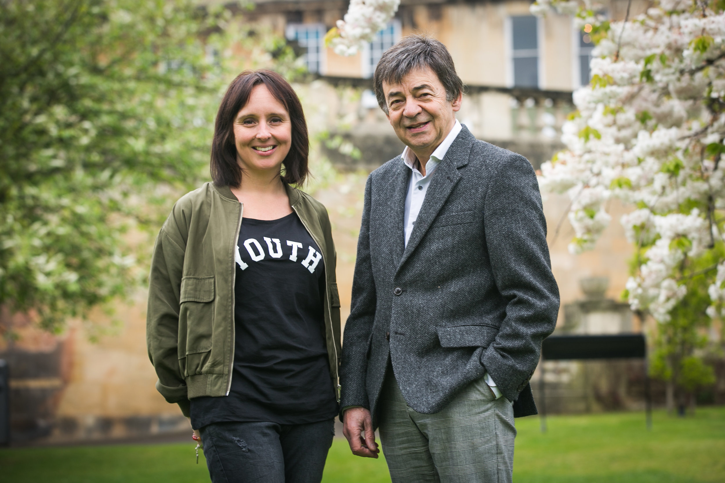 YOGADOO Founder Lucy Aston with co-Patron of Mentoring Plus, Bath Festival Director, John Cullum