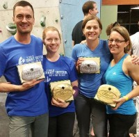 Team I Got Sleep Comin' and Team Leave It To Beavers showin' off their handmade awards! SUCH CRAFTMANSHIP.