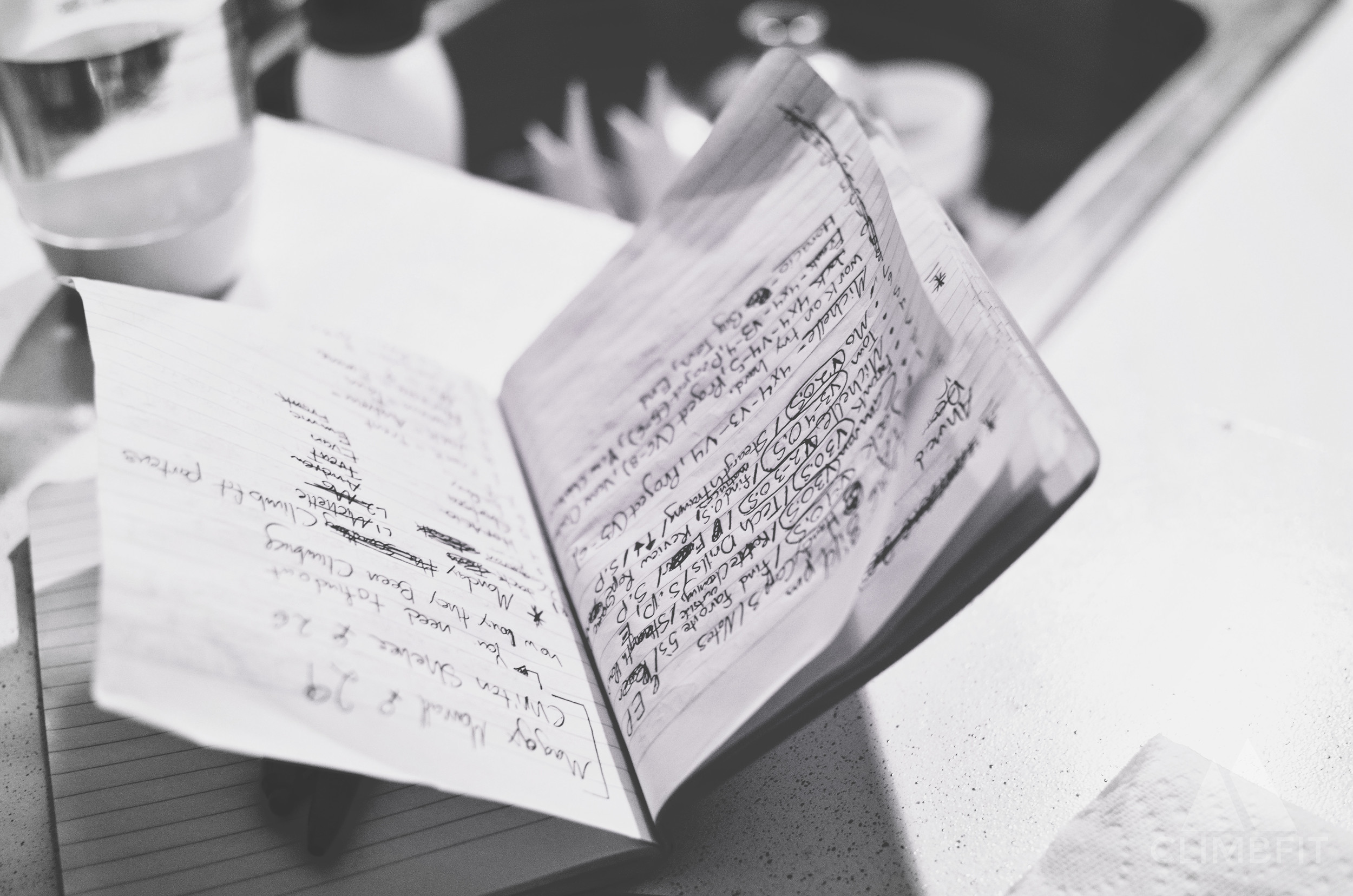 Mario's notebook, used for reference during ClimbFit sessions, filled with the obsessive amount of notes he takes.