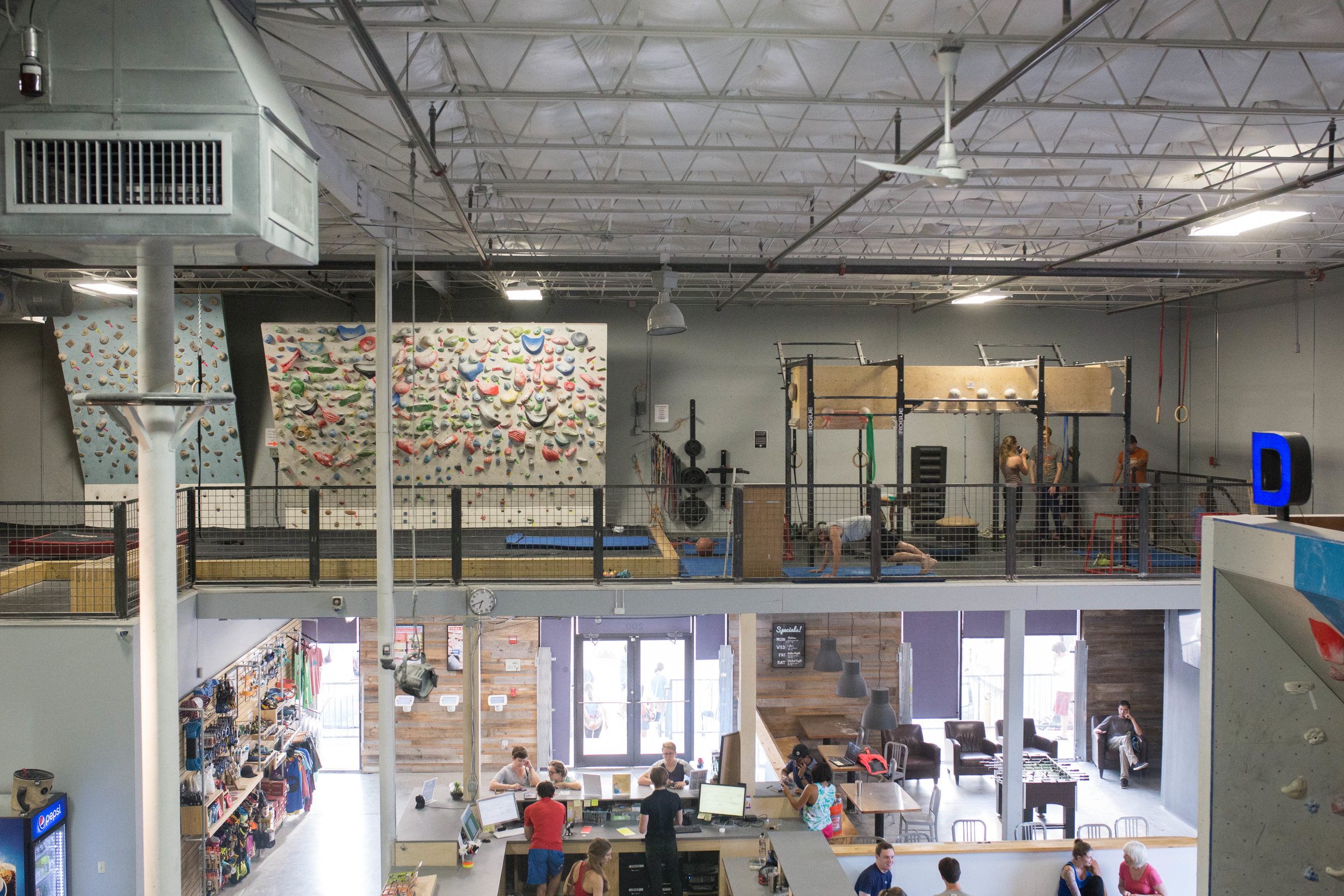 Aerial view of the gym