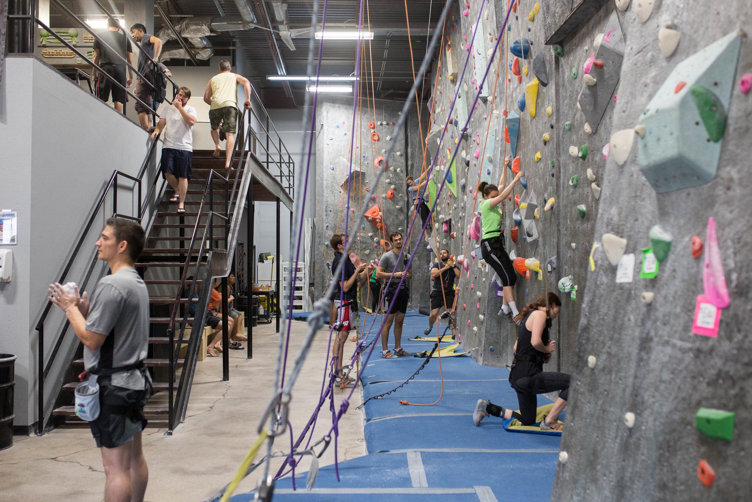 Top rope climbing at Summit Carrollton