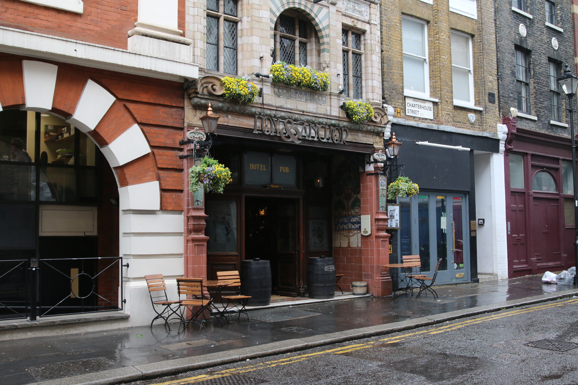 The entrance to Fox & Anchor, tucked away on a side street