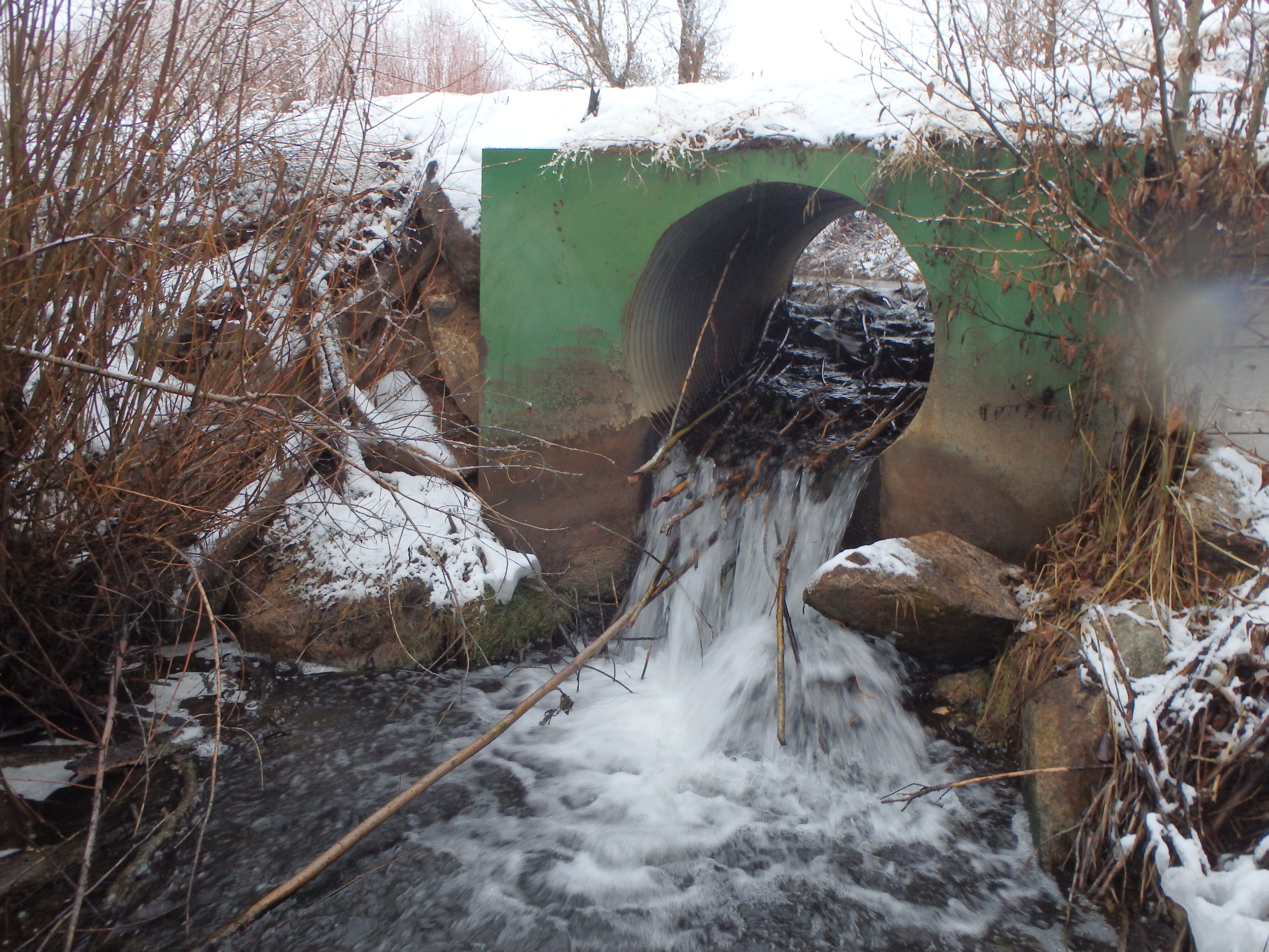 Culvert / irrigation control structure that is a barrier to fish passage - stream restoration