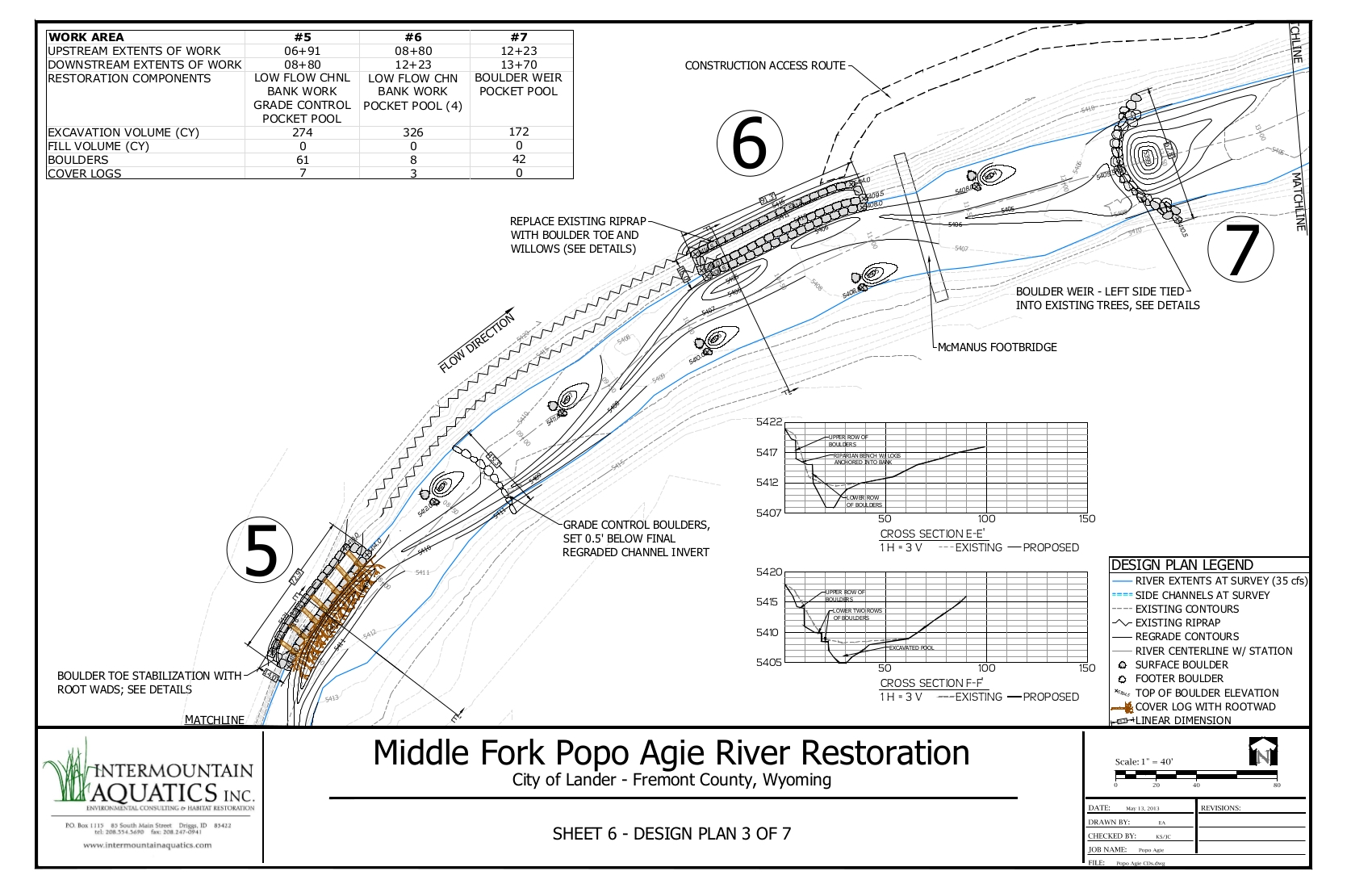 Stream Restoration plan view and cross sections from the Final Design