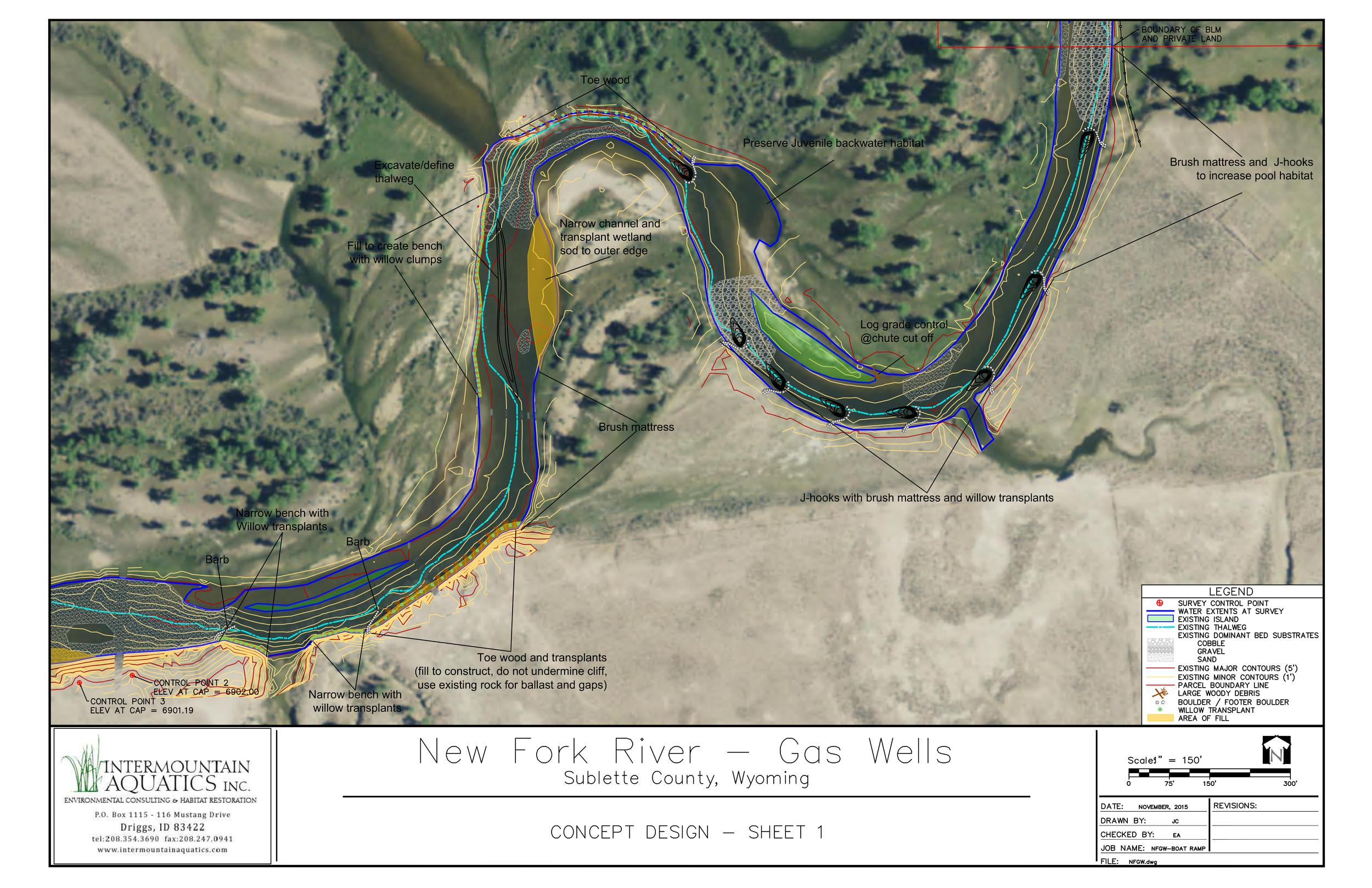 Stream Restoration plan view of the Concept Design
