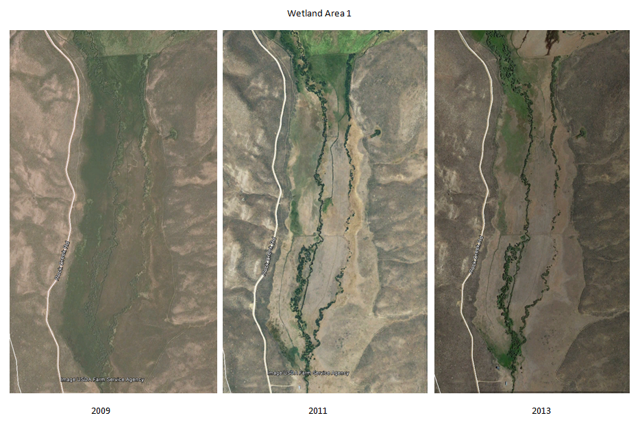 Aerial photos showing irrigation practices over time and transitioning vegetation