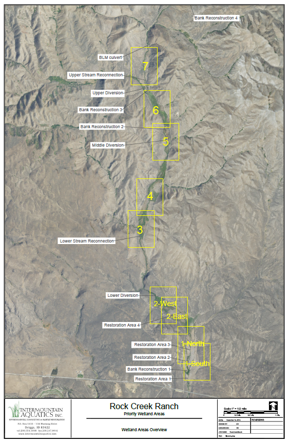 Overview of all project locations spanning over 7 miles of creek