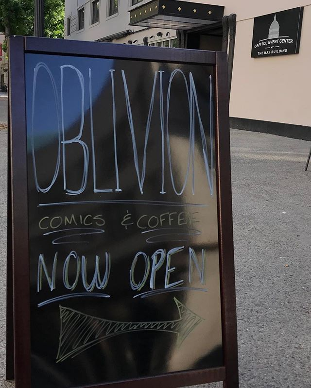 NOW OPEN @oblivioncomics !!!! Come try the best @chocfishcoffee and get some great comics right here on the north side of the @themaybuilding - 1020 11th St!  Check out @capitoleventcenter for a $25 Gift card giveaway to @oblivioncomics
