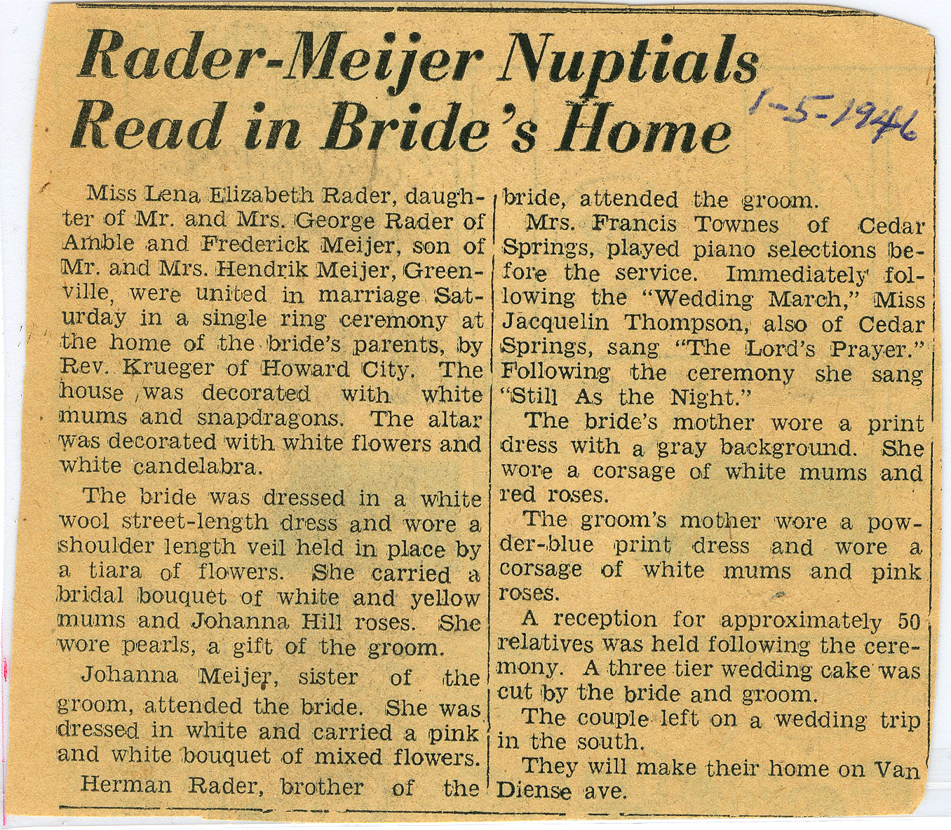 Meijer, Fred and Lena, Wedding Announcement, 1-19460001.jpg