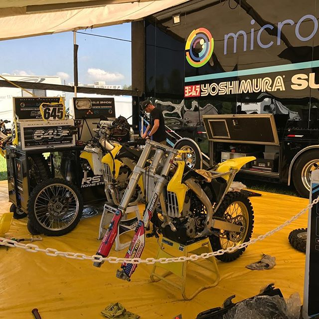 The mechanics are hard at work getting the bikes ready for this weekends race at @buddscreekmx  #teammicrobiltprbc #yoshimura #teamsuzuki #rmarmy #thisismoto #promotocross