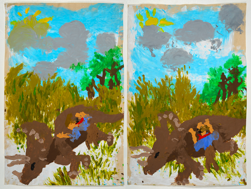 Triceratops, diptych ( from the series  BLIND TRANSGENDER WITH AIDS )   acrylic on paper   85 x 57 cm,  85 x 57 cm   2014