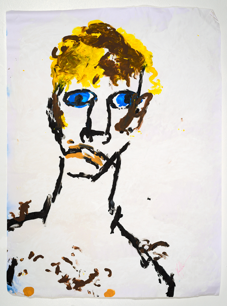 Antonin, le Beau ( from the series  BLIND TRANSGENDER WITH AIDS )   acrylic on paper   85 x 57 cm   2014