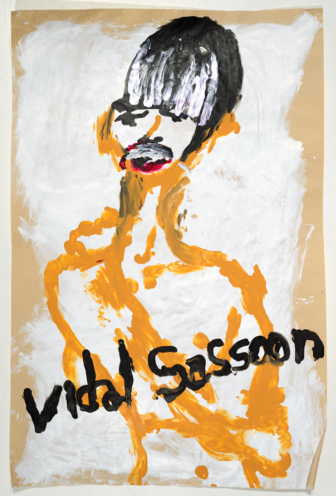 Vidal Sassoon ( from the series  BLIND TRANSGENDER WITH AIDS  )   acrylic on paper   85 x 57 cm   2014